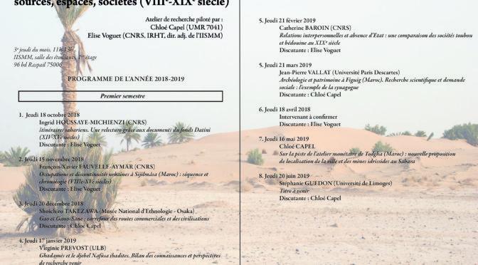 Séminaire «mondes sahariens». Séance du jeudi 21 mars 2019