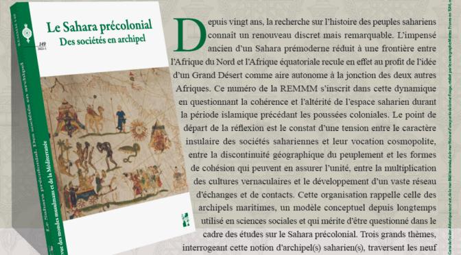 Parution: le Sahara précolonial, des sociétés en archipel